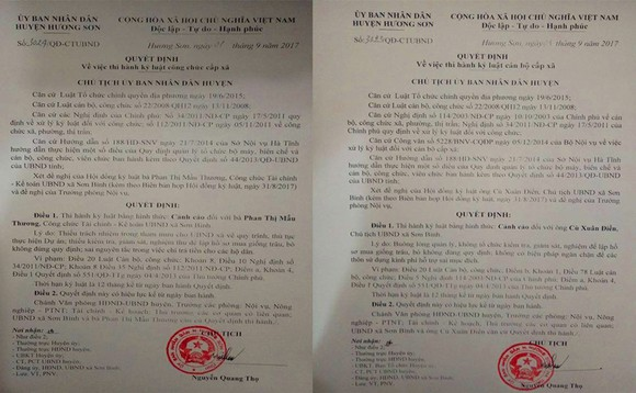 Quyết định kỷ luật của UBND huyện Hương Sơn, tỉnh Hà Tĩnh