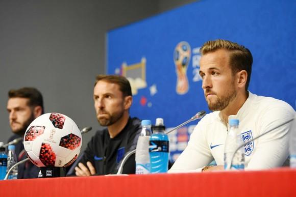 Harry Kane đầy tự tin trong buổi họp báo trước trận. Ảnh: Getty Images