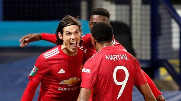 Edinson Cavani đưa Man.United vào bán kết gặp Man.City. Ảnh: Getty Images