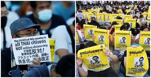 Cuộc biểu tình yêu cầu chính phủ từ chức, giải tán quốc hội và tổ chức bầu cử mới theo hiến pháp sửa đổi, tại khuôn viên Rangsit của Đại học Thammasat bên ngoài Bangkok, Thái Lan hôm 10-8-2020. Ảnh: REUTERS
