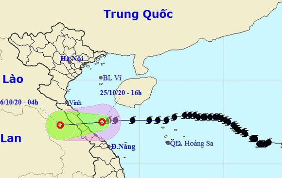 Vị trí và hướng di chuyển của áp thấp nhiệt đới. Ảnh: NCHMF