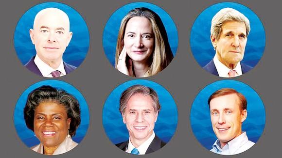 Một số ứng viên nội các của ông Joe Biden, hàng trên: Alejandro Mayorkas,  Avril Haines, John Kerry; hàng dưới: Linda Thomas-Greenfield,  Antony Blinken, Jake Sullivan