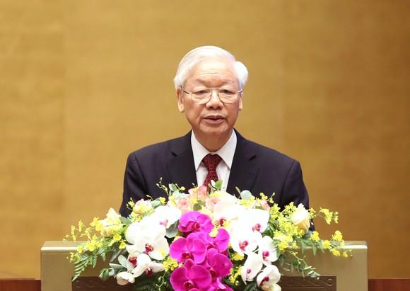 Tổng Bí thư Nguyễn Phú Trọng phát biểu tại hội nghị. Ảnh: QUANG PHÚC