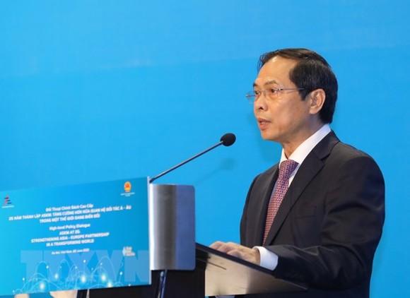 Bộ trưởng Bộ Ngoại giao Bùi Thanh Sơn phát biểu khai mạc. Ảnh: TTXVN