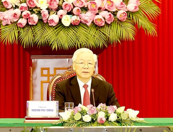 Tổng Bí thư Nguyễn Phú Trọng phát biểu tại Hội nghị thượng đỉnh  giữa Đảng Cộng sản Trung Quốc với các chính đảng trên thế giới. Ảnh: TTXVN