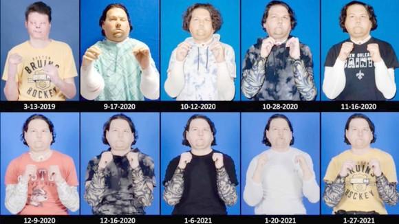 Quá trình biến đổi khuôn mặt của DiMeo qua thời gian