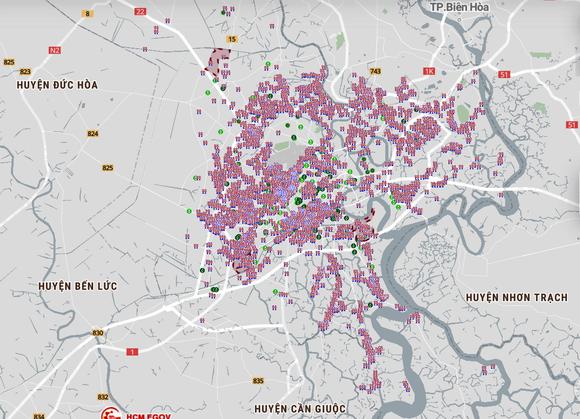 Bản đồ cập nhật ngày 30-8 khu vực tạm phong tỏa vì dịch Covid-19 tại TPHCM. Ảnh: ICT