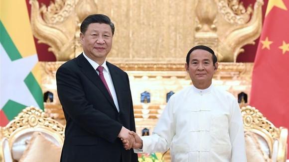 Chủ tịch Trung Quốc Tập Cận Bình và Tổng thống Myanmar Win Myint. Ảnh: CGTN
