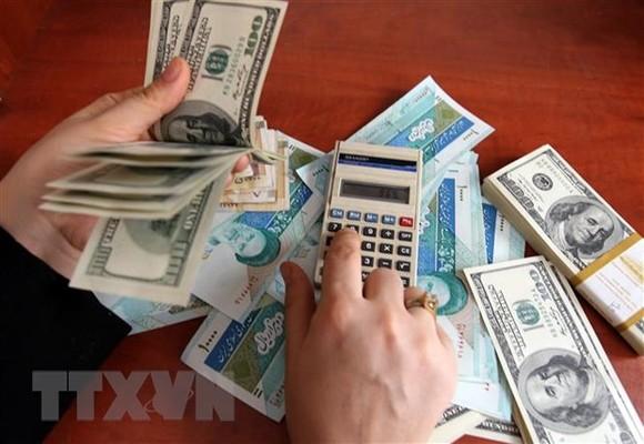 Đồng rial của Iran và đồng USD tại một cửa hàng đổi tiền ở Tehran, Iran. (Ảnh: AFP/TTXVN)