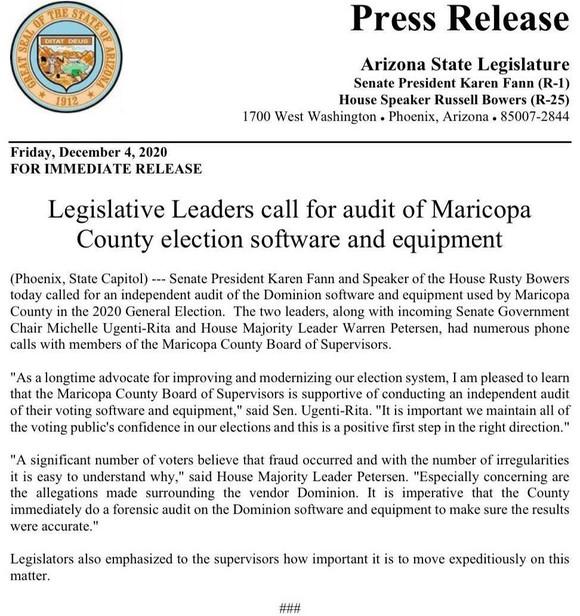 Thông cáo báo chí của Nghị viện Arizona yêu cầu kiểm tra thiết bị bỏ phiếu của Hạt Maricopa.