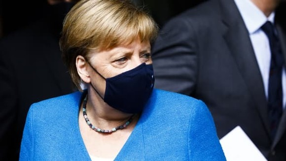 Bà Angela Merkel sau buổi họp báo mùa hè thường niên hồi tháng 8/2020 tại Berlin, Đức. (Ảnh: Getty Images)