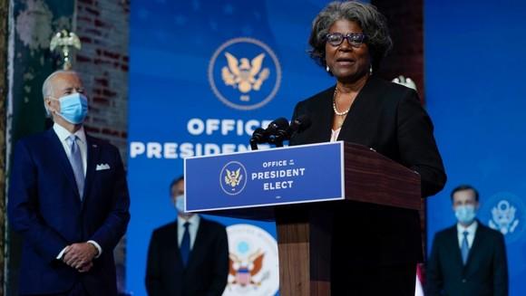 Đại sứ Hoa Kỳ Linda Thomas-Greenfield phát biểu tại Nhà hát Queen, 11-2020, ở Wilmington, Delaware. Ảnh: Carolyn Kaster/AP