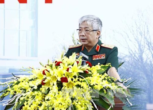 Thượng tướng, Thứ trưởng Bộ Quốc phòng Nguyễn Chí Vịnh phát biểu tại buổi lễ. Ảnh TTXVN