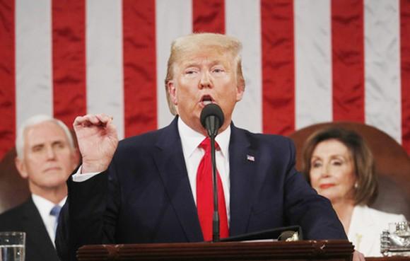 Tổng thống Mỹ Donald Trump đọc Thông điệp liên bang tại Quốc hội ngày 4-2 (giờ Mỹ). Ảnh: REUTERS