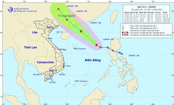Ảnh vị trí và đường đi của cơn bão. Ảnh: Trung tâm Dự báo KTTV Quốc gia