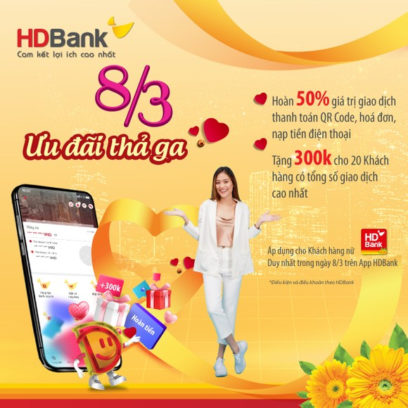HDBank ưu đãi hàng loạt dịch vụ, quà tặng đến khách hàng dịp 8-3