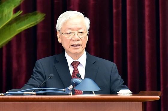 Tổng Bí thư Nguyễn Phú Trọng phát biểu khai mạc hội nghị. Ảnh: VIẾT CHUNG