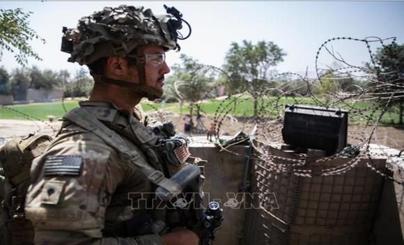 Binh sĩ Mỹ làm nhiệm vụ tại Sân bay quốc tế Hamid Karzai ở Kabul, Afghanistan, ngày 29-8-2021. Ảnh: THX/TTXVN