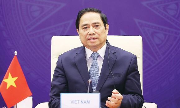 Thủ tướng Phạm Minh Chính phát biểu tại Hội nghị Thượng đỉnh hợp tác tiểu vùng Mê Công mở rộng lần thứ 7. Ảnh: TTXVN