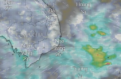 Vùng áp thấp trên khu vực giữa Biển Đông. Ảnh: Windy