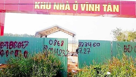 Khu nhà ở Vĩnh Tân (thị xã Tân Uyên) rao bán khi chưa đầy đủ hồ sơ pháp lý