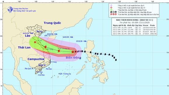 Dự báo bão số 13 đi vào đất liền các tỉnh từ Hà Tĩnh đến Thừa Thiên - Huế ảnh 1