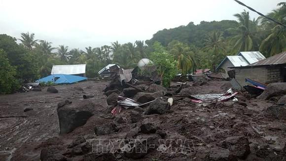 Cảnh tượng sau trận lũ quét. Nguồn: TTXVN