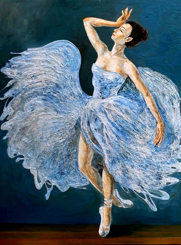 """Bức tranh """"Ballerina"""" của họa sĩ Lương Lưu Biên được đấu giá online để góp vào quỹ """"Sài Gòn mình thương nhau"""""""