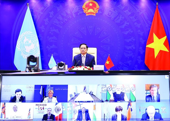 Thủ tướng Phạm Minh Chính phát biểu tại Phiên thảo luận mở cấp cao trực tuyến của Hội đồng Bảo an Liên hiệp quốc