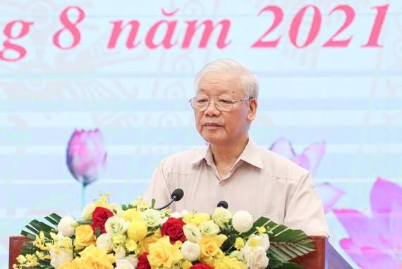 Tổng Bí thư Nguyễn Phú Trọng dự và phát biểu chỉ đạo tại Hội nghị Mặt trận Tổ quốc Việt Nam. Ảnh: VIẾT CHUNG