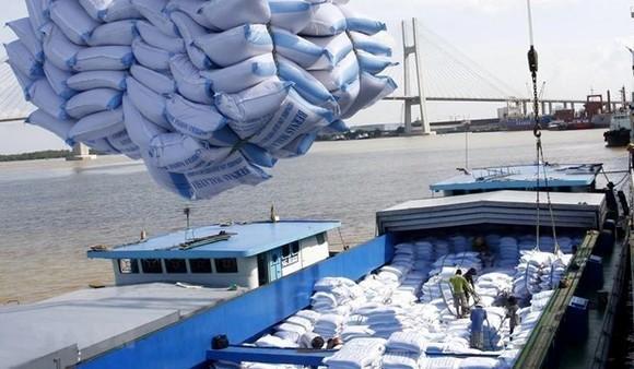 Bốc xếp gạo xuất khẩu tại cảng Sài Gòn.