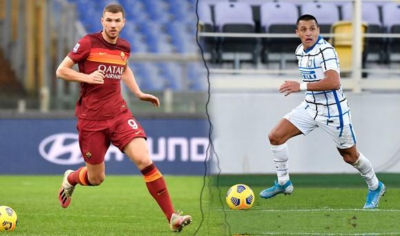 Edin Dzeko  Roma) và Alexis Sanchez (Inter)