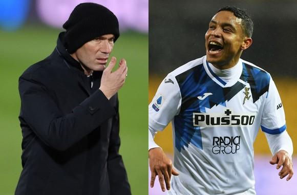 Luis Muriel (phải, Atalanta) và HLV Zidane (Real Madrid)