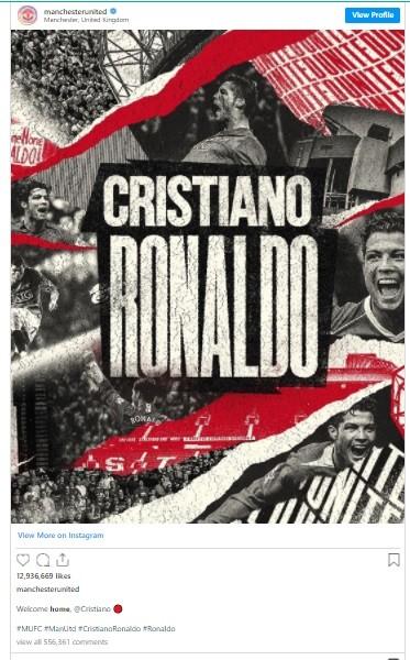 Bài đăng của Man.United về Ronaldo phá kỷ lục Instagram ảnh 1