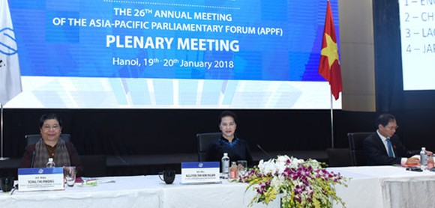 Chủ tịch Quốc hội Nguyễn Thị Kim Ngân, Chủ tịch APPF-26 đã chủ trì Phiên họp toàn thể thứ nhất APPF-26 về các vấn đề an ninh chính trị
