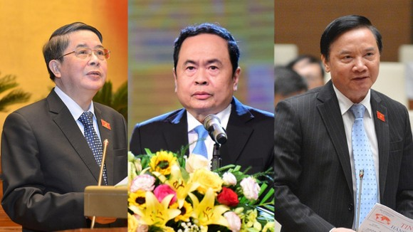 Các tân Phó Chủ tịch Quốc hội: Nguyễn Đức Hải, Trần Thanh Mẫn, Nguyễn Khắc Định (theo thứ tự từ trái qua) vừa được Quốc hội phê chuẩn giữ chức Phó Chủ tịch Quốc hội khoá XIV. Ảnh: QUANG PHÚC