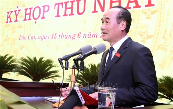 Ông Vũ Xuân Cường giữ chức vụ Chủ tịch HĐND tỉnh Lào Cai khóa XVI, nhiệm kỳ 2021 - 2026. Ảnh: TTXVN