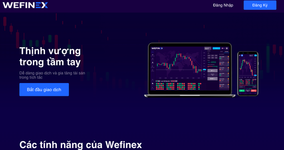 Công an TPHCM đã phát đi thông báo cảnh báo hình thức huy động vốn, tổ chức kinh doanh theo phương thức đa cấp trái phép trên website Wefinex.net. Ảnh: Chụp màn hình