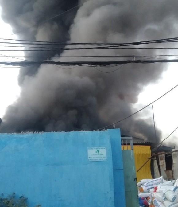 Cháy lớn tại 2 xưởng nhựa ở huyện Bình Chánh, khói đen bốc cao hàng chục mét ảnh 1
