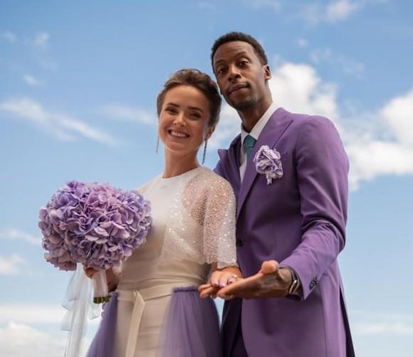 Svitolina và Monfils trong trang phục cưới rất dễ thương