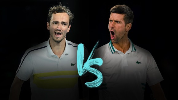 Djokovic (phải) sẽ đấu Medvedev ở CK đơn nam