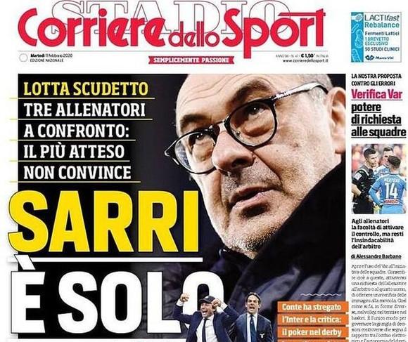 Trang bìa của tờ nhật báo Corriere dello Sport