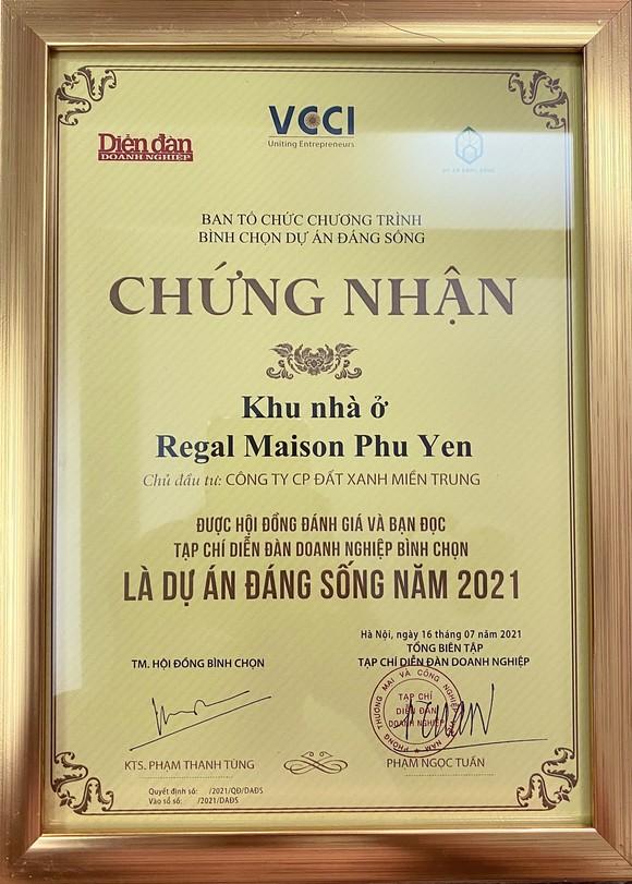 'Dự án đáng sống 2021' ghi danh Regal Maison Phu Yen của Đất Xanh Miền Trung trên bảng vàng ảnh 2