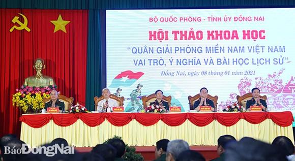 """Hội thảo  """"Quân giải phóng miền Nam Việt Nam - Vai trò, ý nghĩa và bài học lịch sử"""". Ảnh: Báo Đồng Nai"""