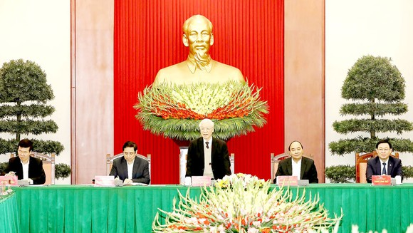 Tổng Bí thư, Chủ tịch nước Nguyễn Phú Trọng phát biểu tại buổi gặp mặt. Ảnh: TTXVN
