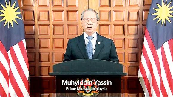 Thủ tướng Malaysia Muhyiddin Yassin phát biểu tại hội nghị. Ảnh: TTXVN