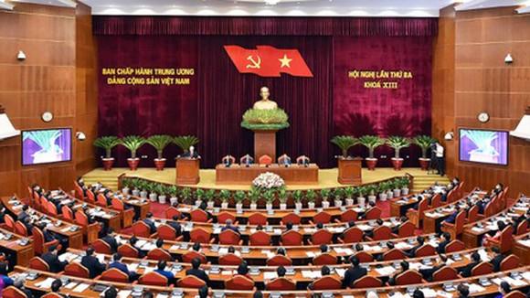 Hội nghị lần thứ 3 Ban Chấp hành Trung ương Đảng khóa XIII khai mạc sáng 5-7 tại Hà Nội. Ảnh: VIẾT CHUNG