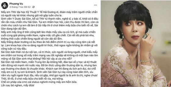 MC Trác Thúy Miêu và bài đăng trên Facebook cá nhân bị xử phạt (Ảnh chụp màn hình FBNV)