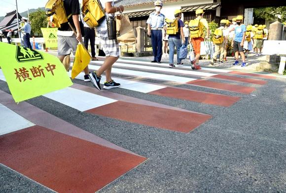 Lối đi bộ 3D được thực hiện trước Trường Tiểu học Chiyokawa ở Kameoka, Kyoto