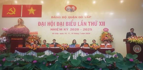 Bí thư Quận ủy Gò Vấp Sử Ngọc Anh phát biểu tổng kết đại hội